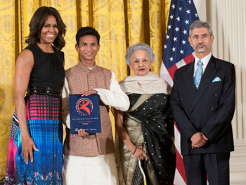 SBT receives an Award at the White House, USA from the First Lady, Michelle Obama